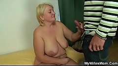 Granny jumps on son in laws cock