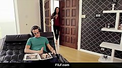 FILF - Lily Lane catches Stepson jerking off to his stepmom