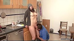 German MILF Seduce to Fuck by Stranger in Kitchen