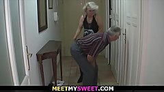 Old couple have fun with son'_s gf